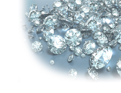 Loose international diamonds on a counter